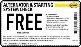 FREE alternator and starting system check